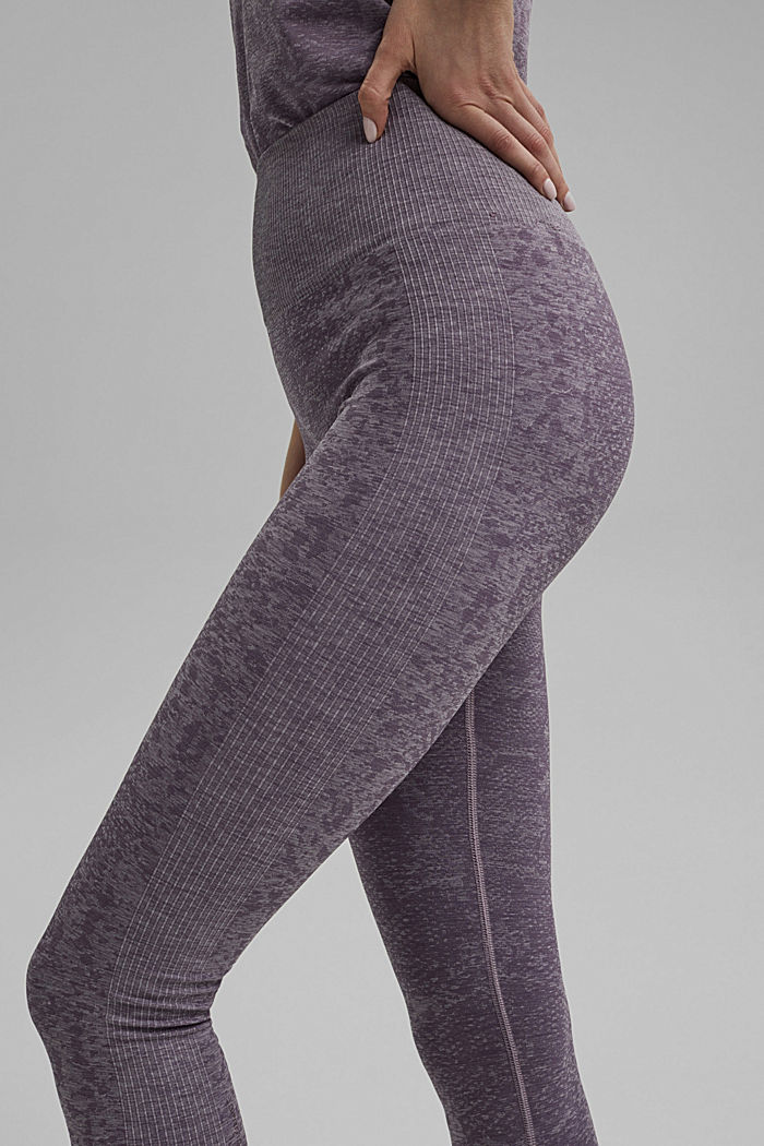 YOGA: seamless, high-performance leggings with an E-Dry finish, MAUVE, detail image number 2