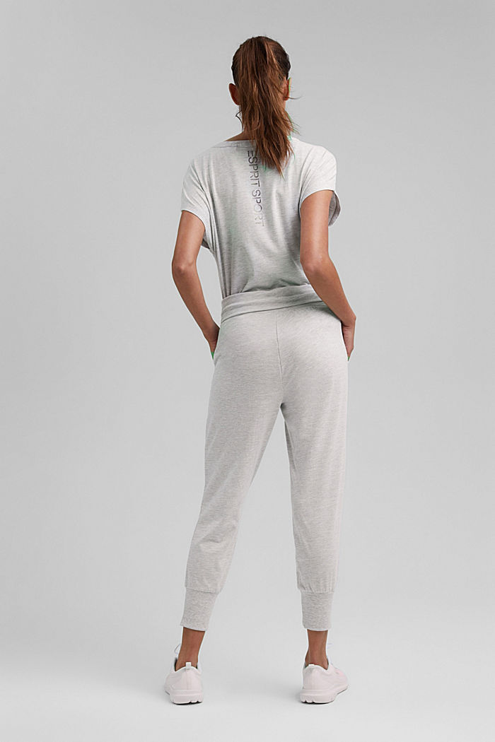 YOGA: spodnie z dżerseju z bawełną organiczną, LIGHT GREY, detail image number 3