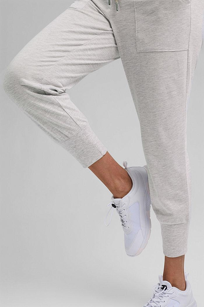 YOGA: spodnie z dżerseju z bawełną organiczną, LIGHT GREY, detail image number 6