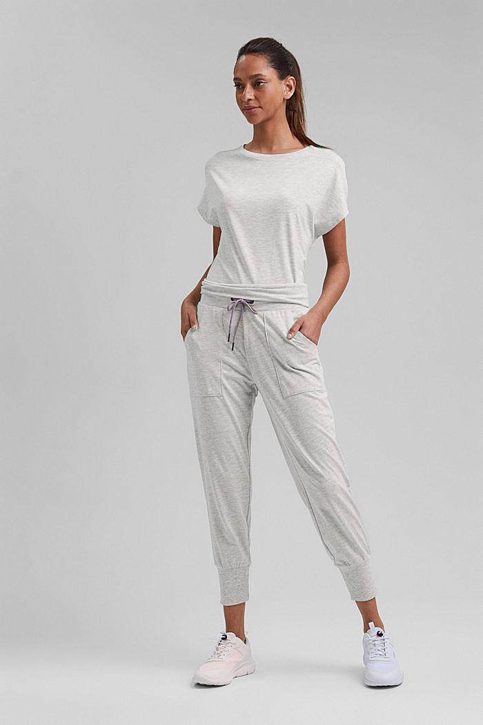 YOGA: spodnie z dżerseju z bawełną organiczną, LIGHT GREY, detail image number 1