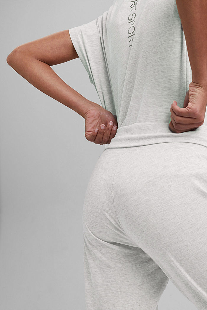 YOGA: spodnie z dżerseju z bawełną organiczną, LIGHT GREY, detail image number 5