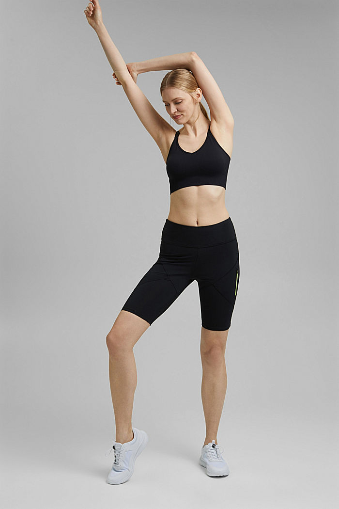 Recycled: Active shorts with E-DRY, BLACK, detail image number 1