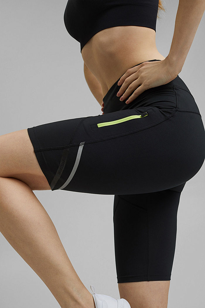 Recycled: Active shorts with E-DRY, BLACK, detail image number 2