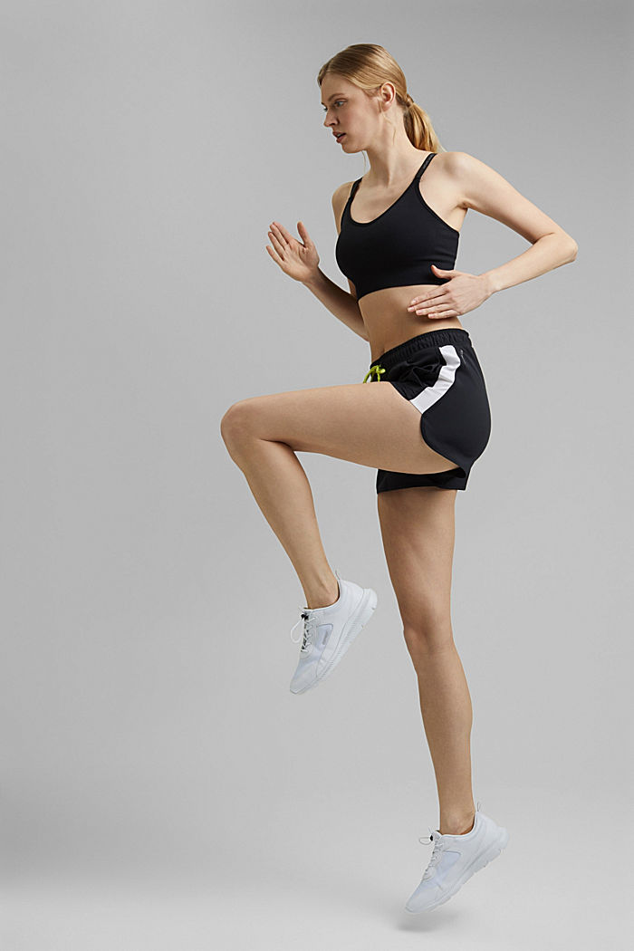 Recycelt: Shorts mit Kontrastblenden, BLACK, detail image number 1