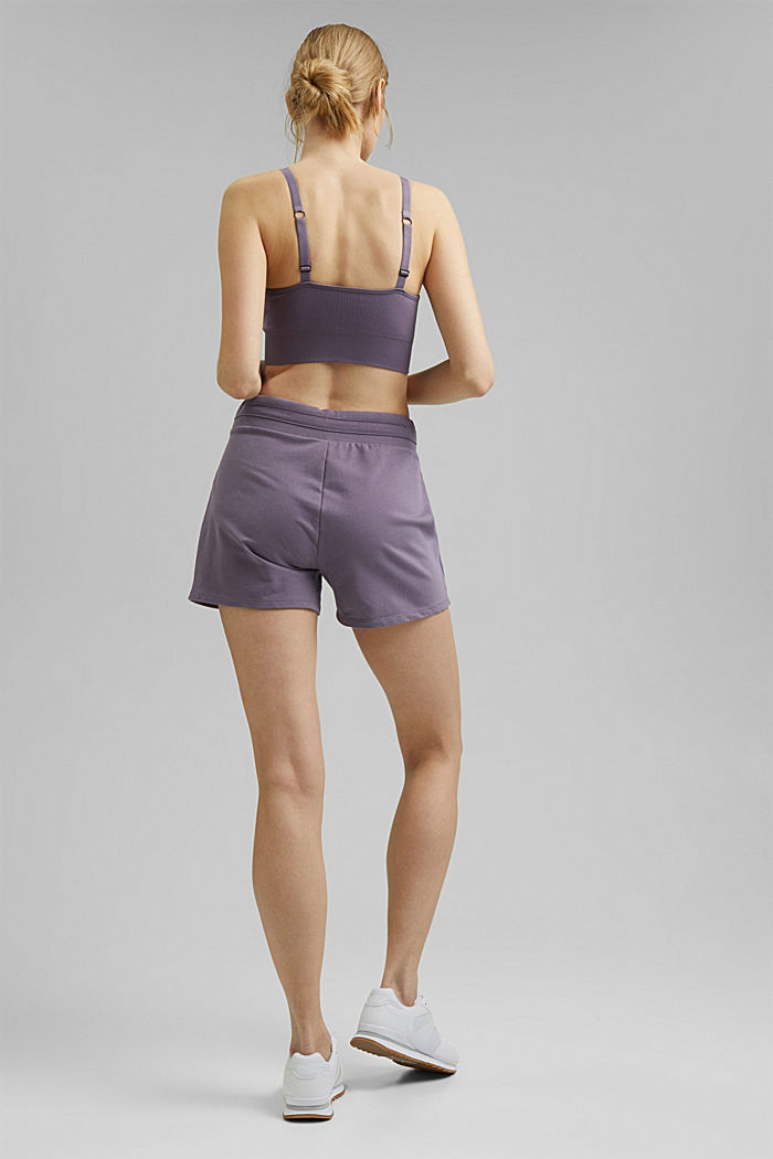 Sweatshirt fabric shorts with organic cotton, MAUVE, detail image number 3