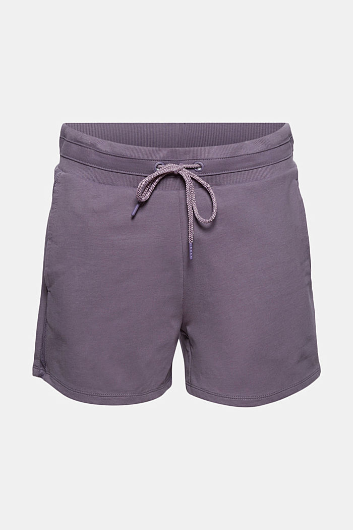 Sweatshirt fabric shorts with organic cotton, MAUVE, overview