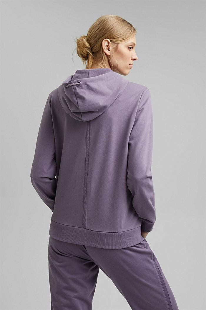 Sweatshirt cardigan with organic cotton, MAUVE, detail image number 3