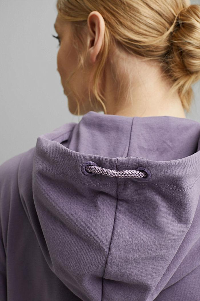 Sweatshirt cardigan with organic cotton, MAUVE, detail image number 5