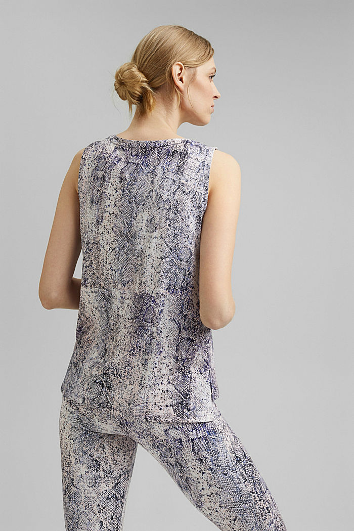 Recycled: Print top with E-DRY, MAUVE, detail image number 3