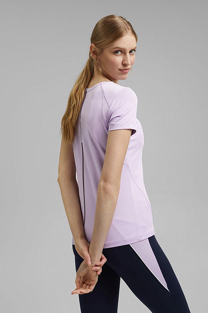 Gerecycled: T-shirt met mesh en E-DRY, LAVENDER, detail image number 3