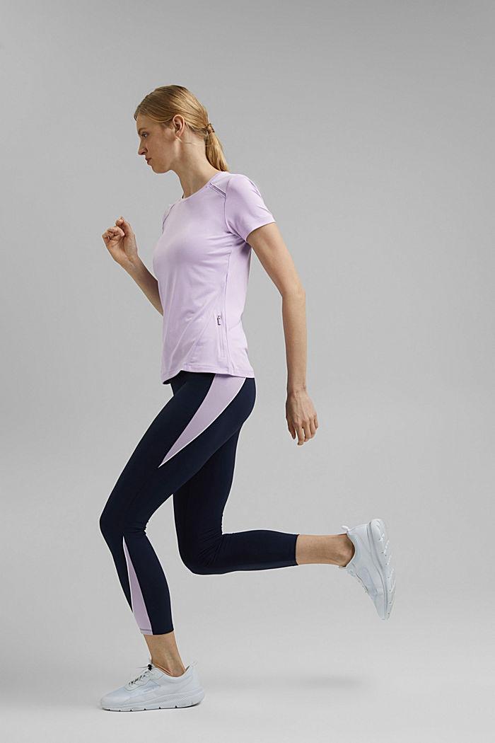Gerecycled: T-shirt met mesh en E-DRY, LAVENDER, detail image number 1