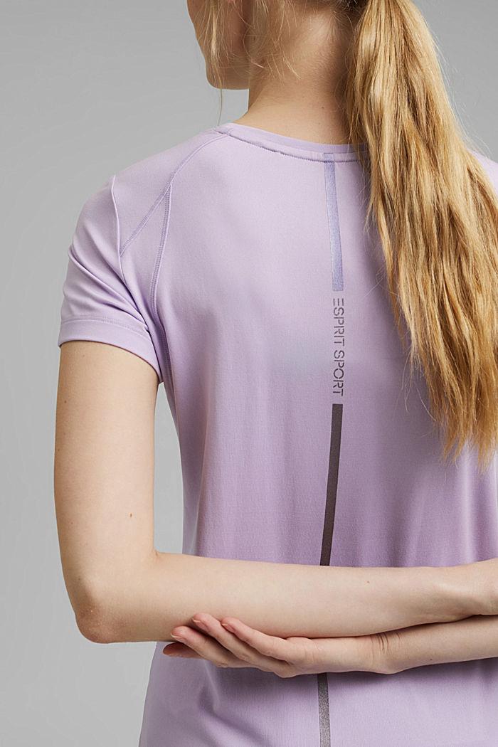 Gerecycled: T-shirt met mesh en E-DRY, LAVENDER, detail image number 5