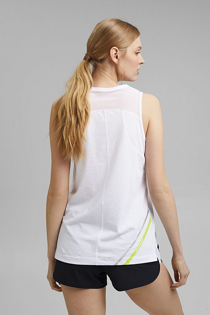 Gerecycled: active top met mesh details, WHITE, detail image number 3