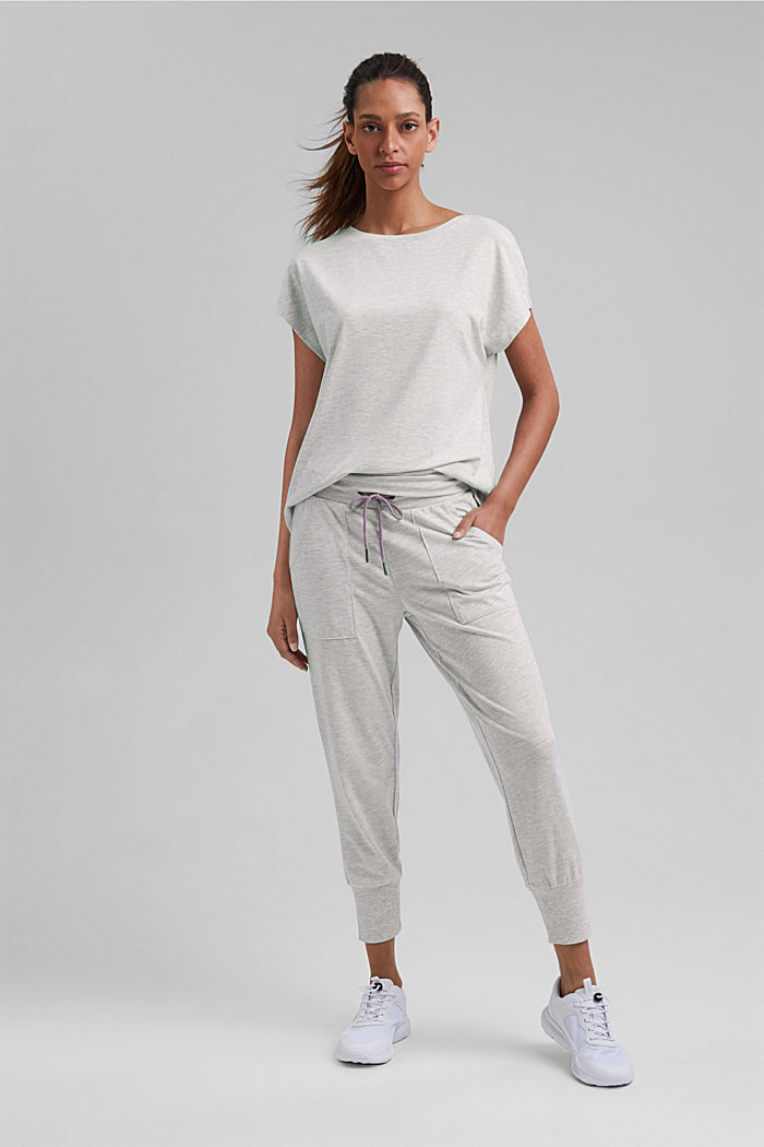 YOGA: T-Shirt mit Organic Cotton, LIGHT GREY, detail image number 1