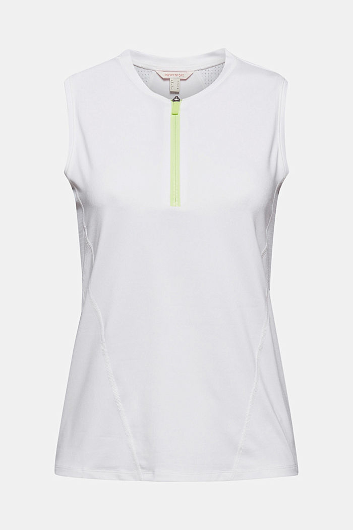 Recycled: active top with zip and E-DRY