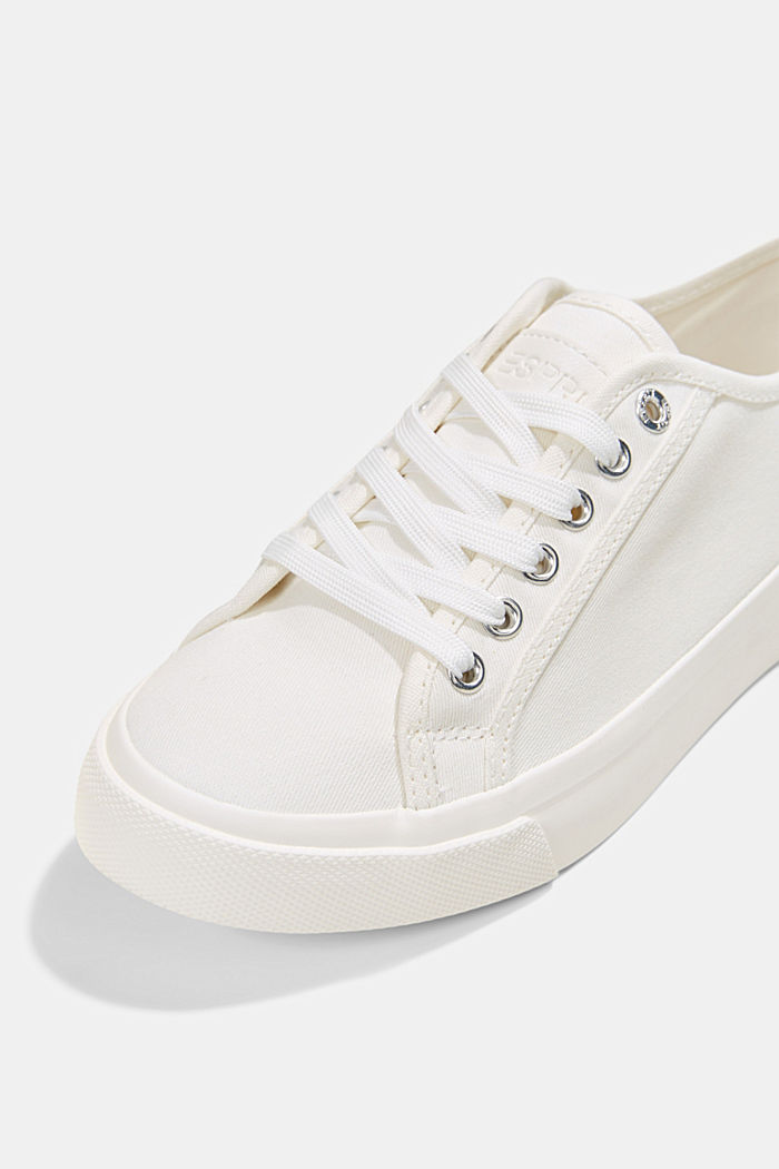 Sneakers in tela di cotone biologico, WHITE, detail image number 4