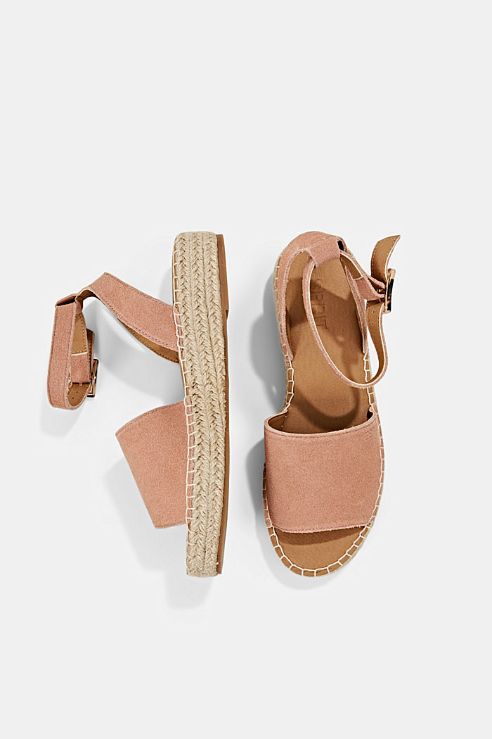 Leder-Sandale mit Bastsohle, OLD PINK, detail image number 1