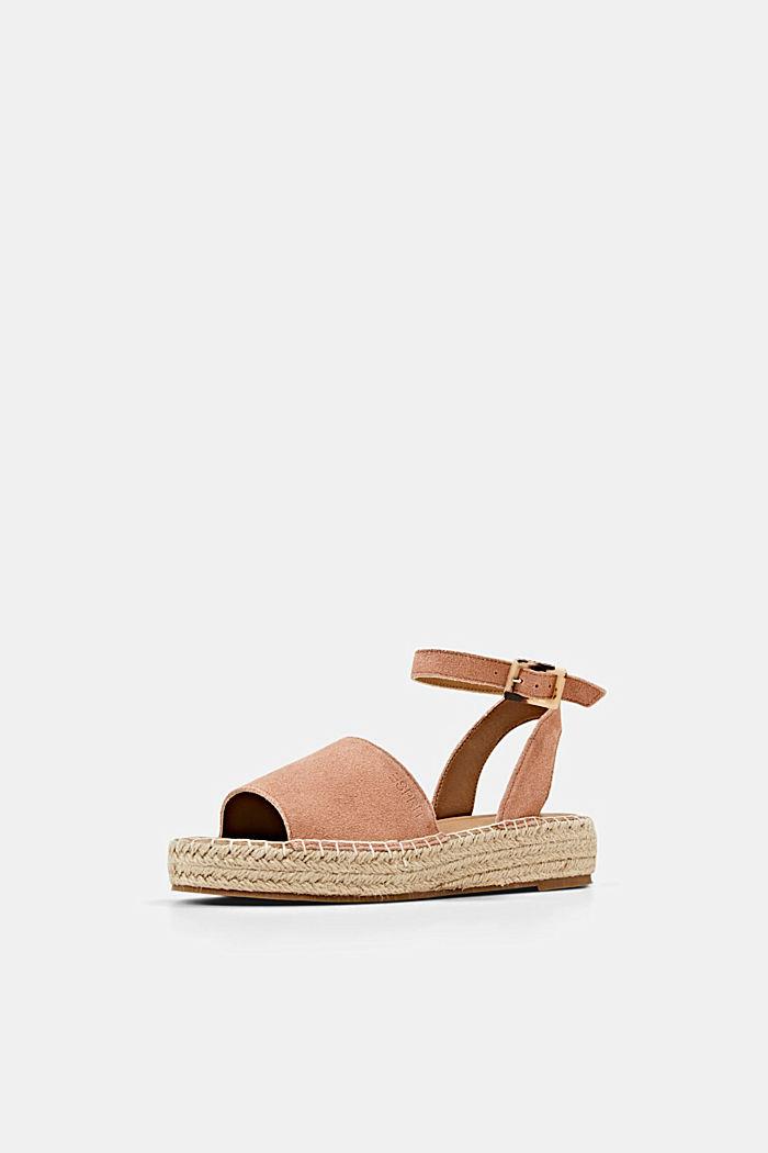 Leder-Sandale mit Bastsohle, OLD PINK, detail image number 2