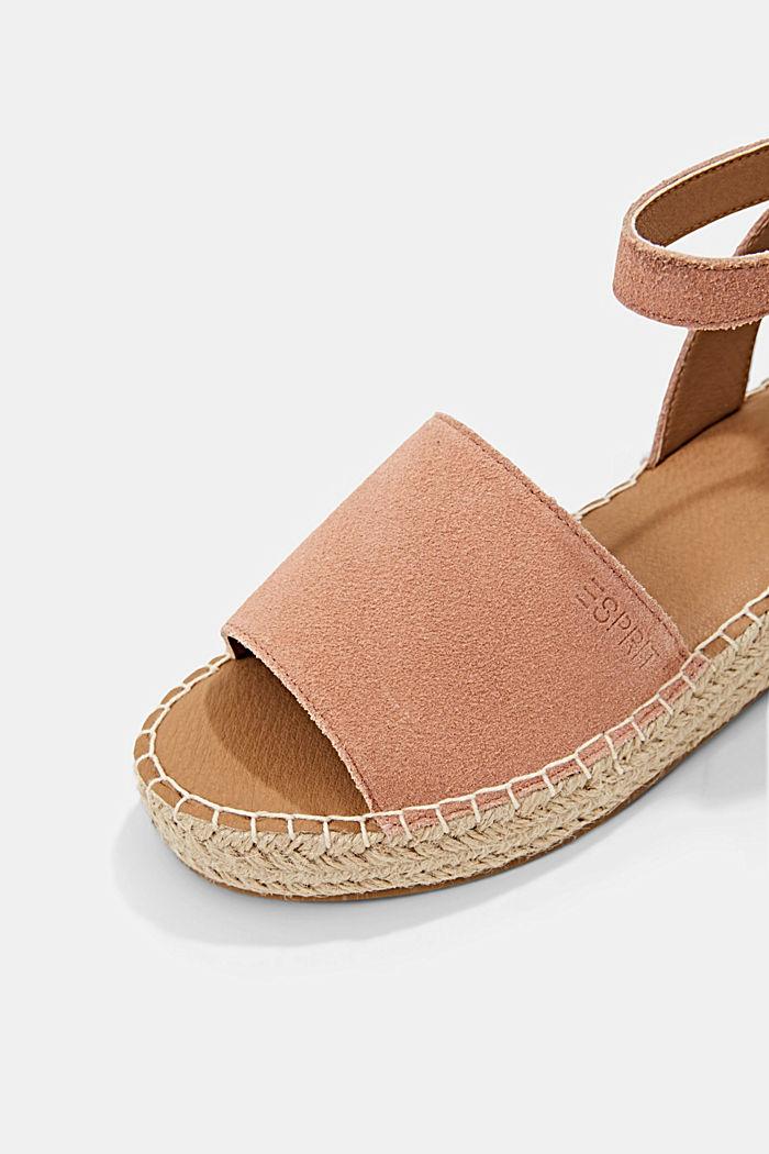 Leder-Sandale mit Bastsohle, OLD PINK, detail image number 4