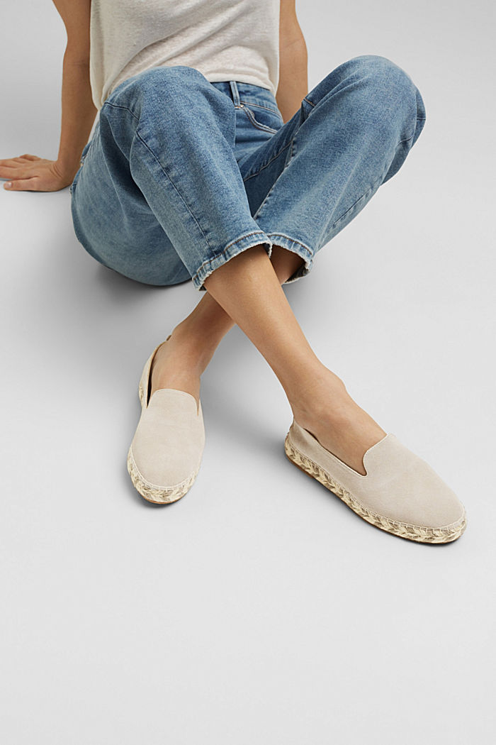 Espadrillas in pelle scamosciata, LIGHT GREY, detail image number 6