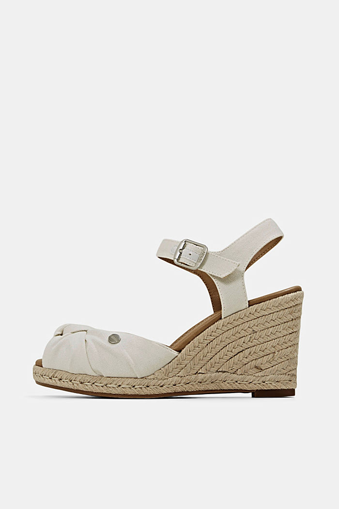 Cotton sandals with a bast wedge heel