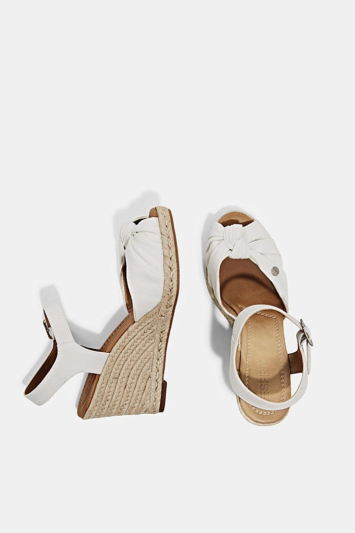 Baumwoll-Sandale mit Keilabsatz aus Bast, WHITE, detail image number 1