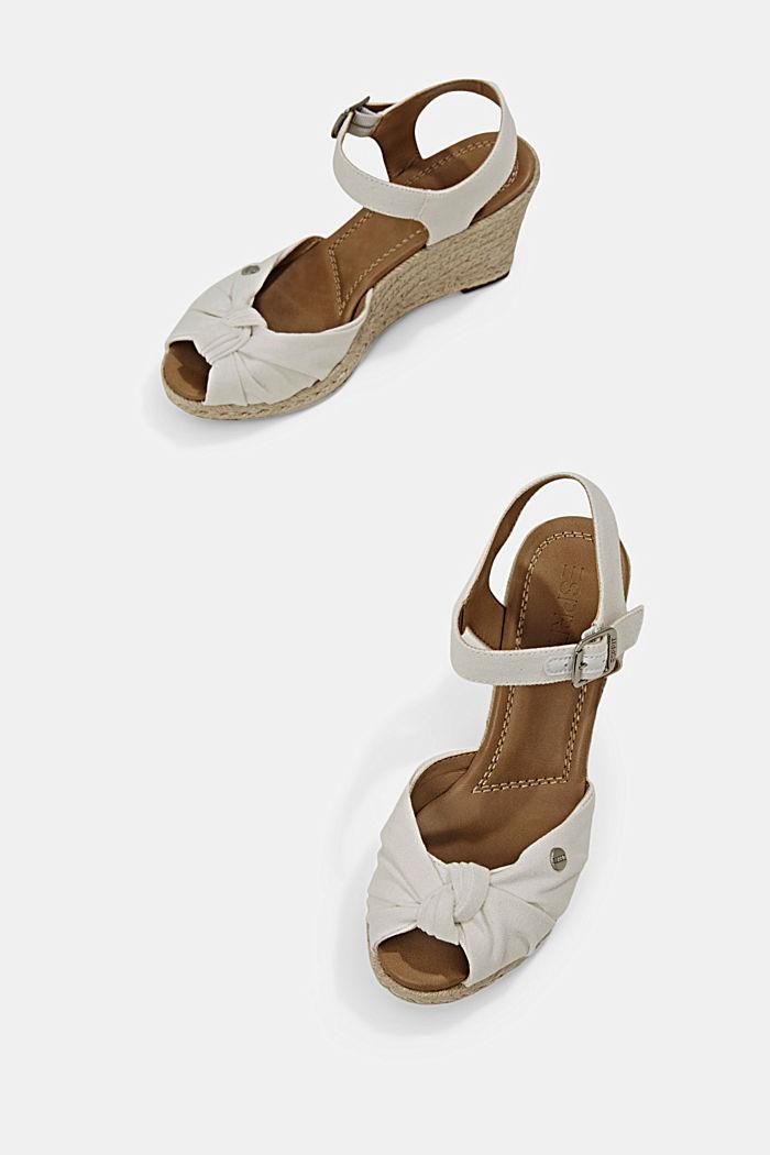 Baumwoll-Sandale mit Keilabsatz aus Bast, WHITE, detail image number 5