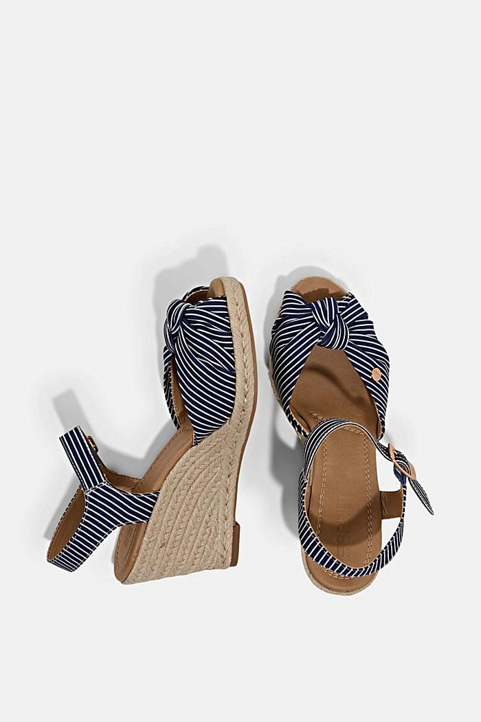Baumwoll-Sandale mit Keilabsatz aus Bast, DARK BLUE, detail image number 1