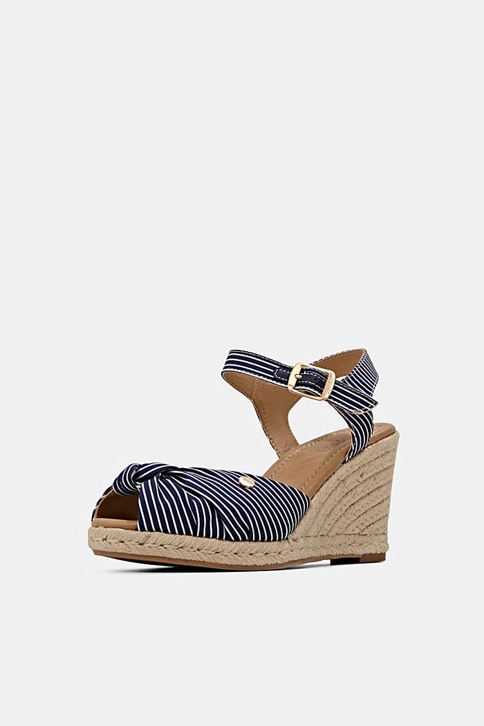 Baumwoll-Sandale mit Keilabsatz aus Bast, DARK BLUE, detail image number 2