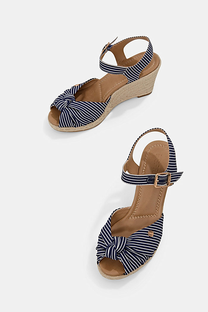 Baumwoll-Sandale mit Keilabsatz aus Bast, DARK BLUE, detail image number 5