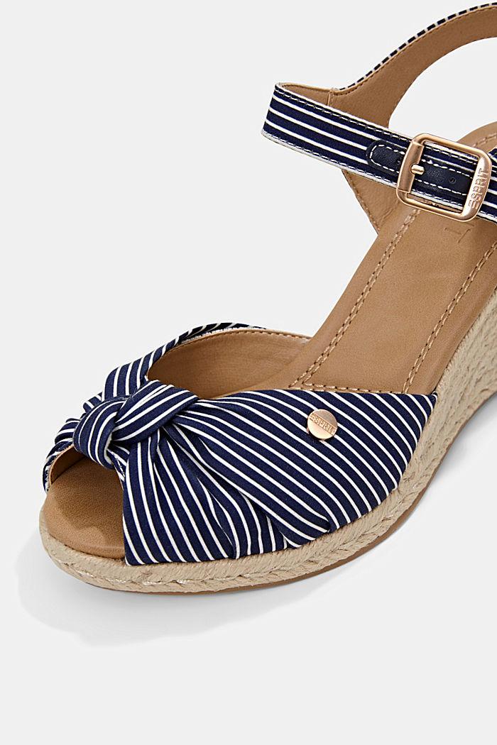 Baumwoll-Sandale mit Keilabsatz aus Bast, DARK BLUE, detail image number 4