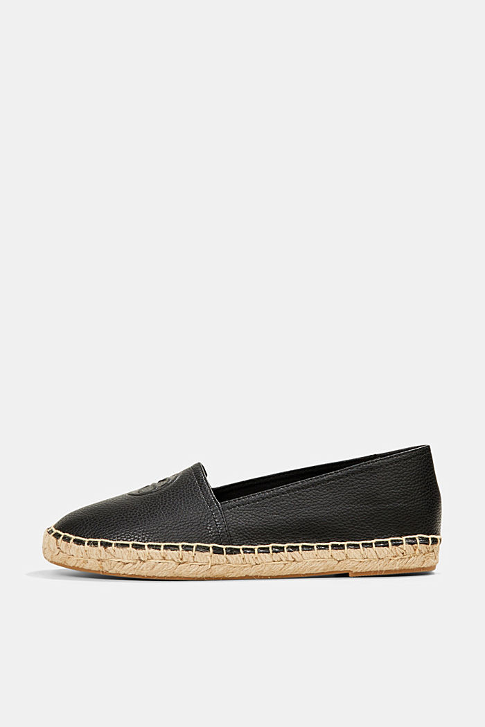 Faux leather espadrilles, BLACK, detail image number 0