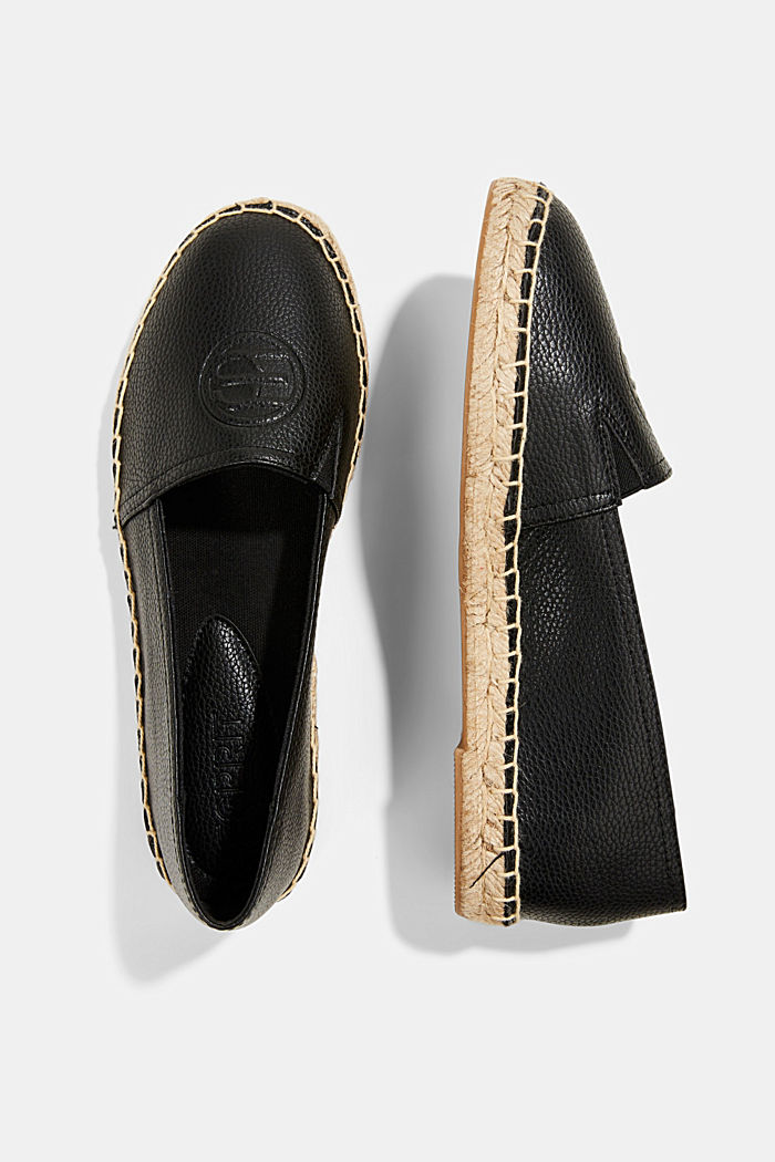 Faux leather espadrilles, BLACK, detail image number 1
