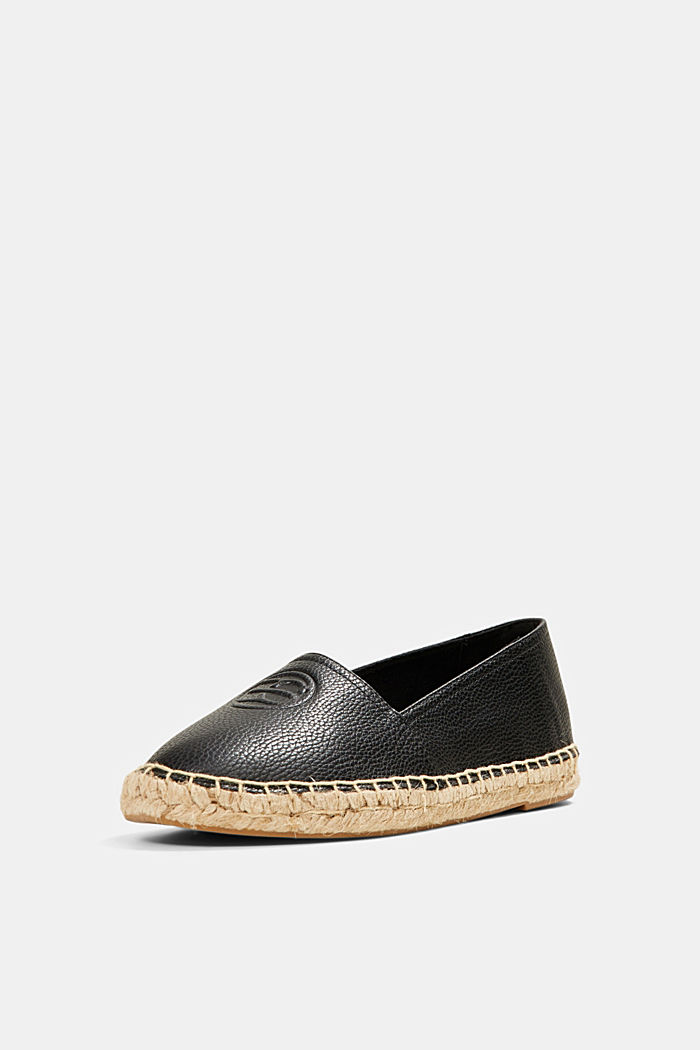 Faux leather espadrilles, BLACK, detail image number 2