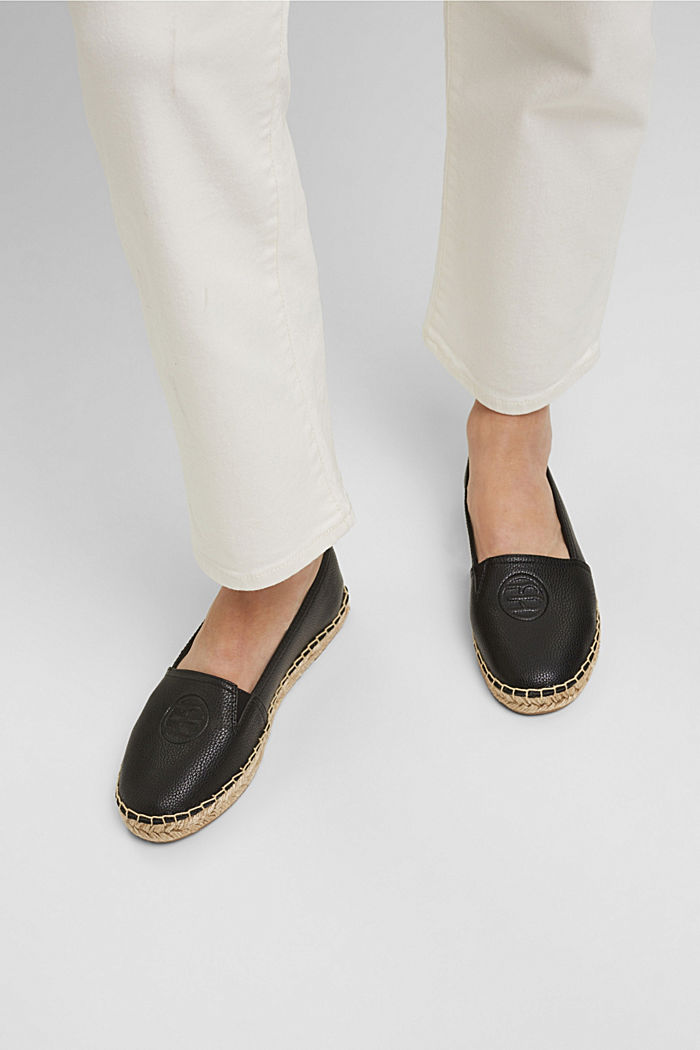 Faux leather espadrilles, BLACK, detail image number 3