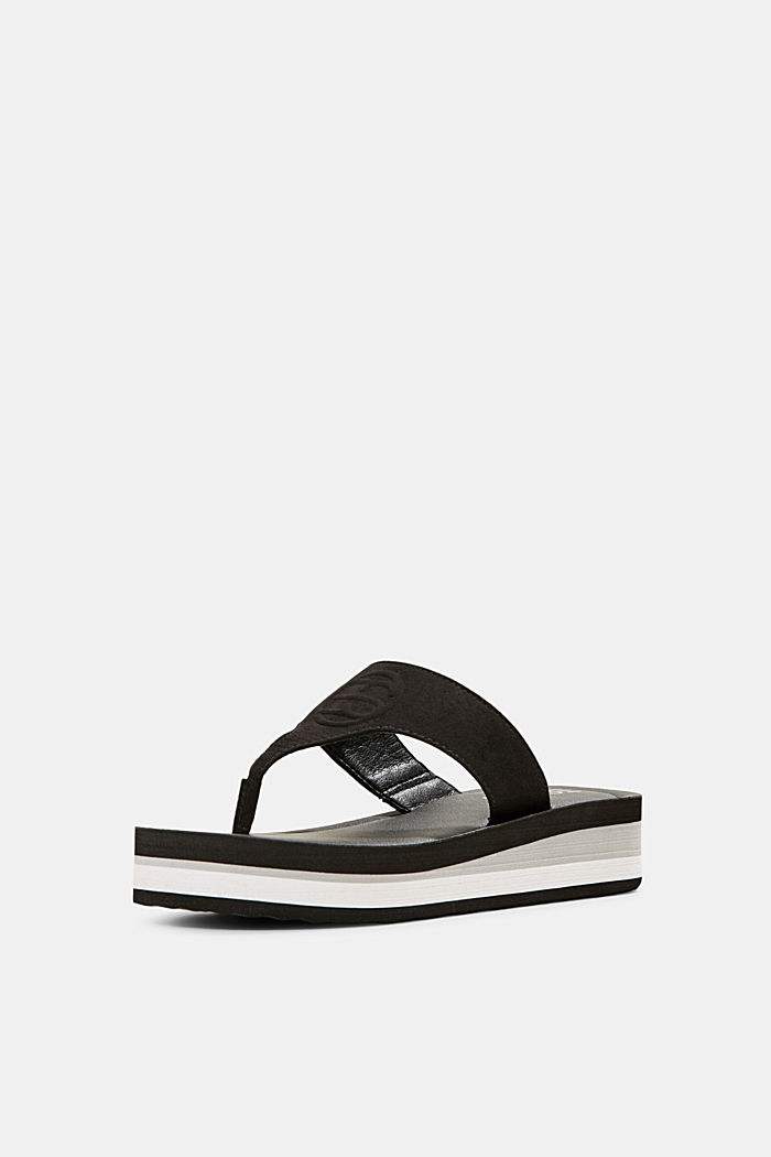 Thong sandals with faux leather and monogram, BLACK, detail image number 2