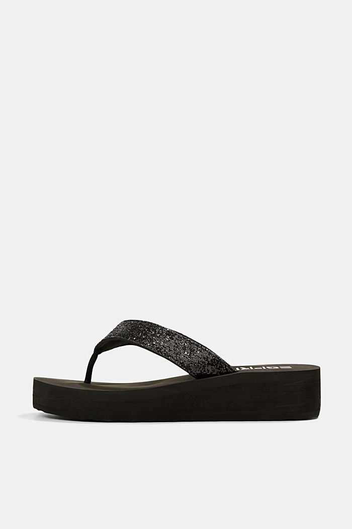 Thong sandals with glittering straps and a platform, BLACK, detail image number 0