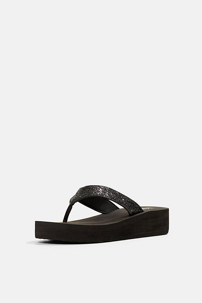 Thong sandals with glittering straps and a platform, BLACK, detail image number 2