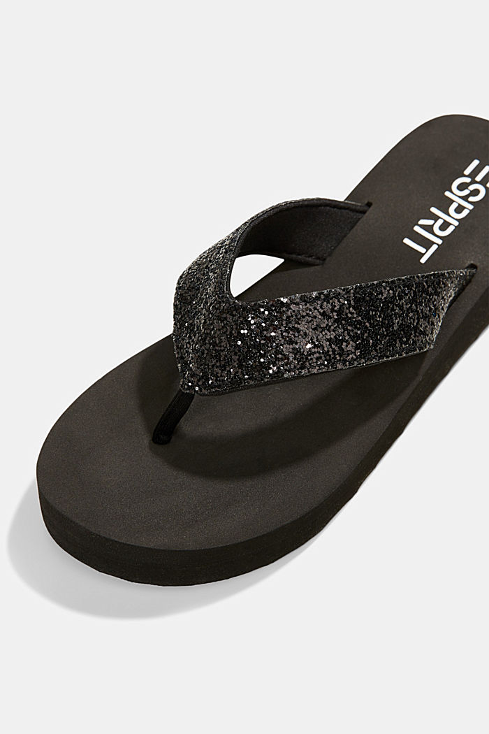 Thong sandals with glittering straps and a platform, BLACK, detail image number 4