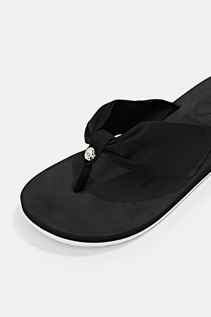 Sandales à entredoigts et bride en tissu, BLACK, detail image number 4