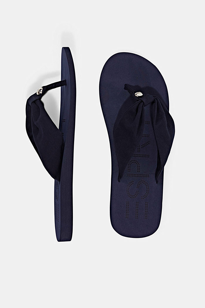 Thong sandals with a fabric toe post, NAVY, detail image number 1