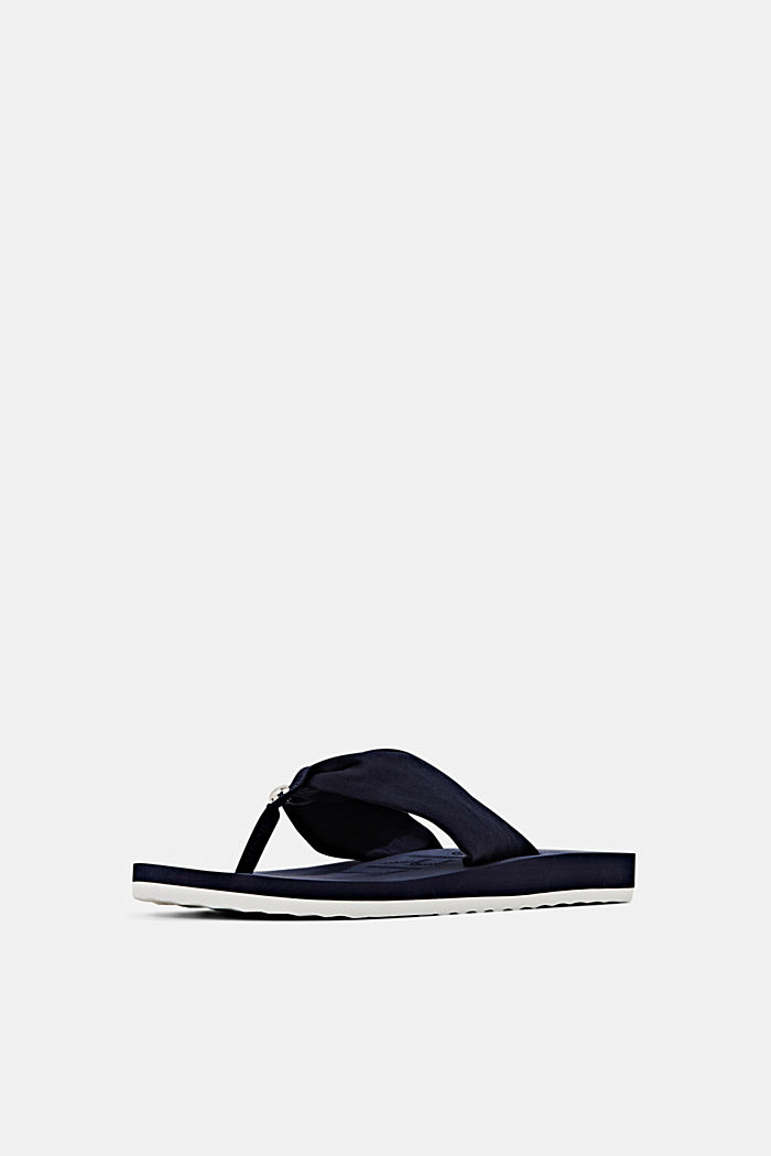 Thong sandals with a fabric toe post, NAVY, detail image number 2