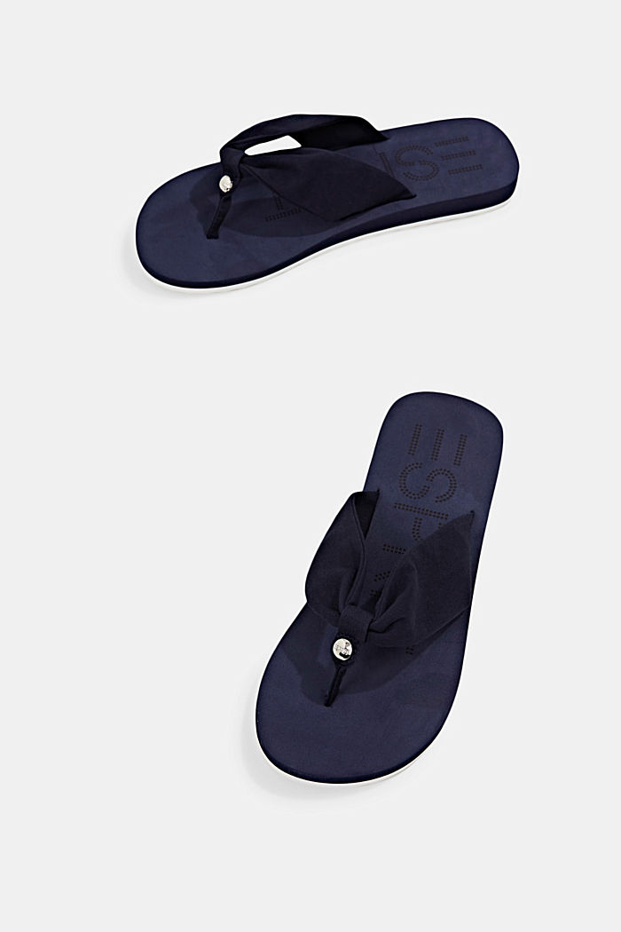 Thong sandals with a fabric toe post, NAVY, detail image number 3