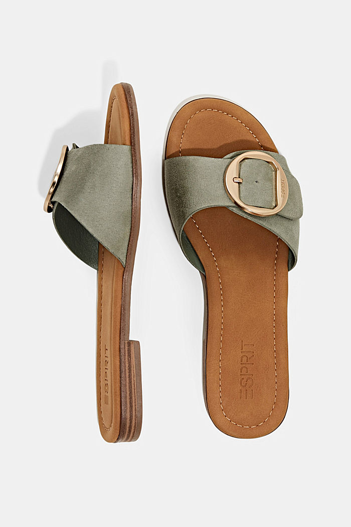 Faux leather mules with buckles, DUSTY GREEN, detail image number 1