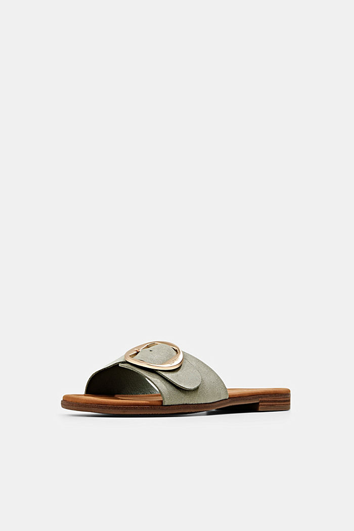 Faux leather mules with buckles, DUSTY GREEN, detail image number 2