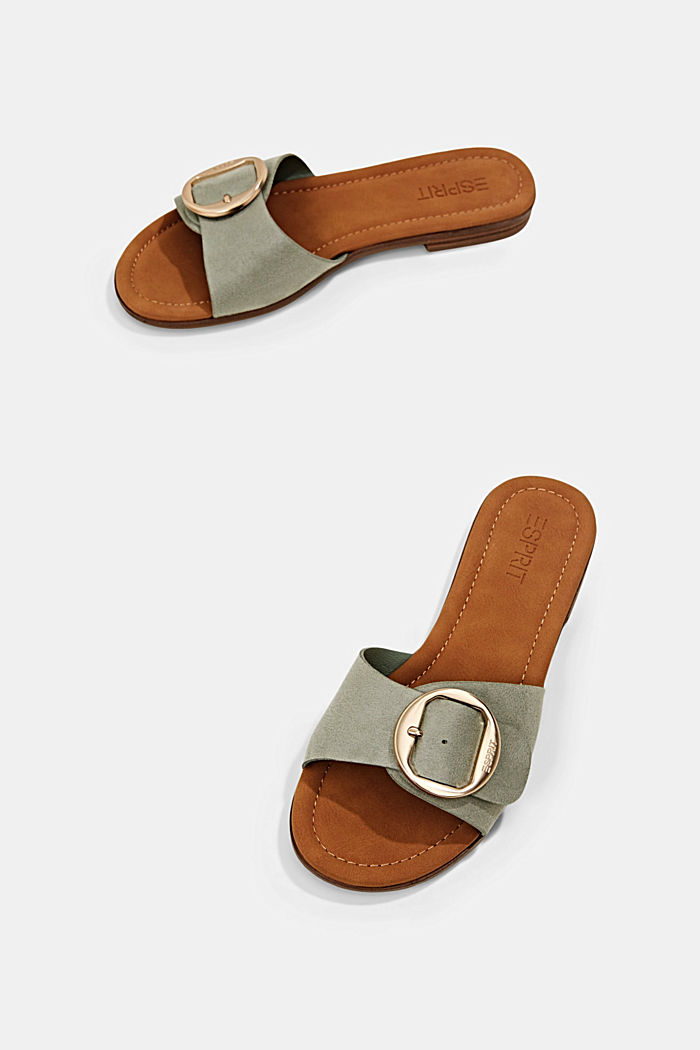 Faux leather mules with buckles, DUSTY GREEN, detail image number 5
