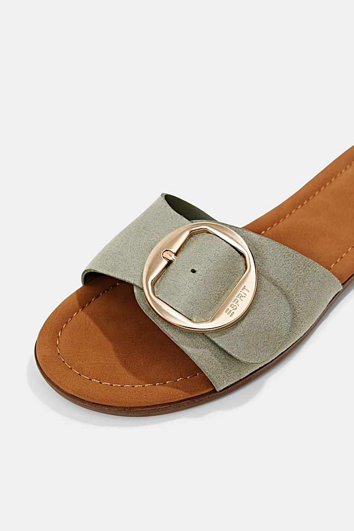 Faux leather mules with buckles, DUSTY GREEN, detail image number 4
