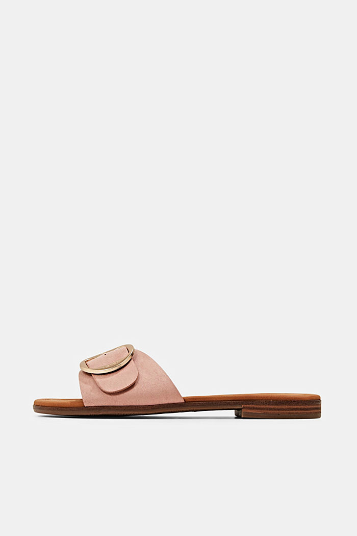 Faux leather mules with buckles