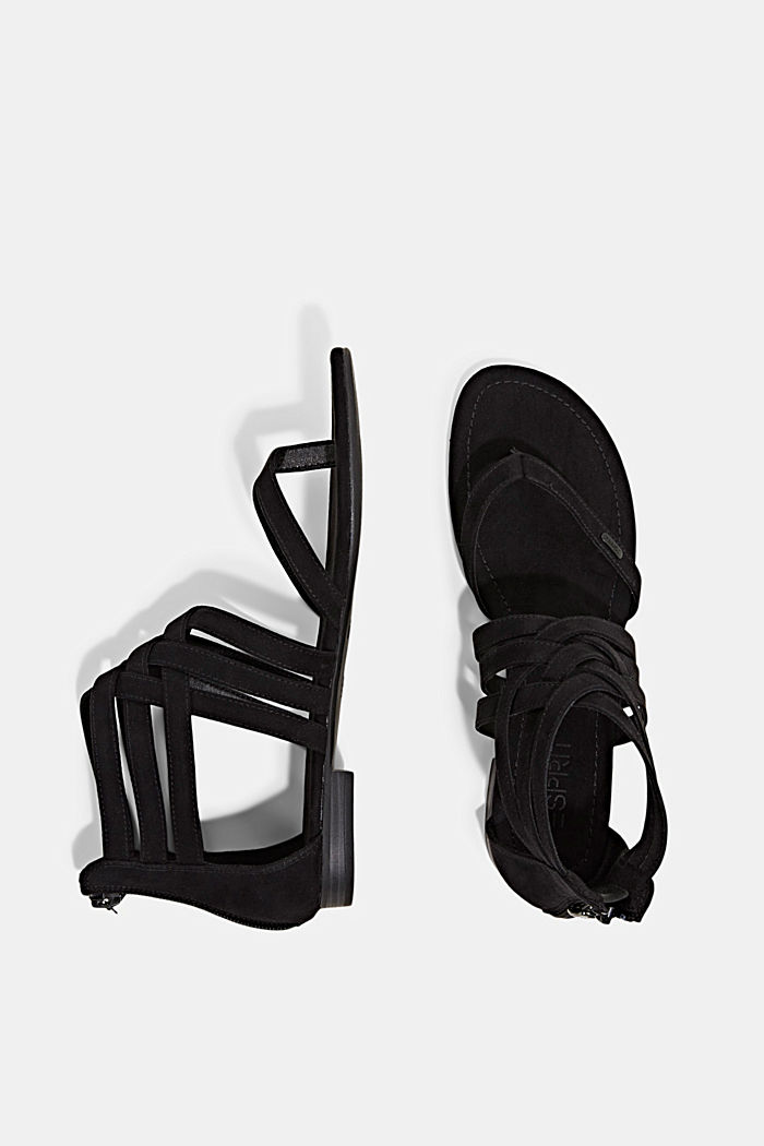 Strappy sandals made of faux suede, BLACK, detail image number 1