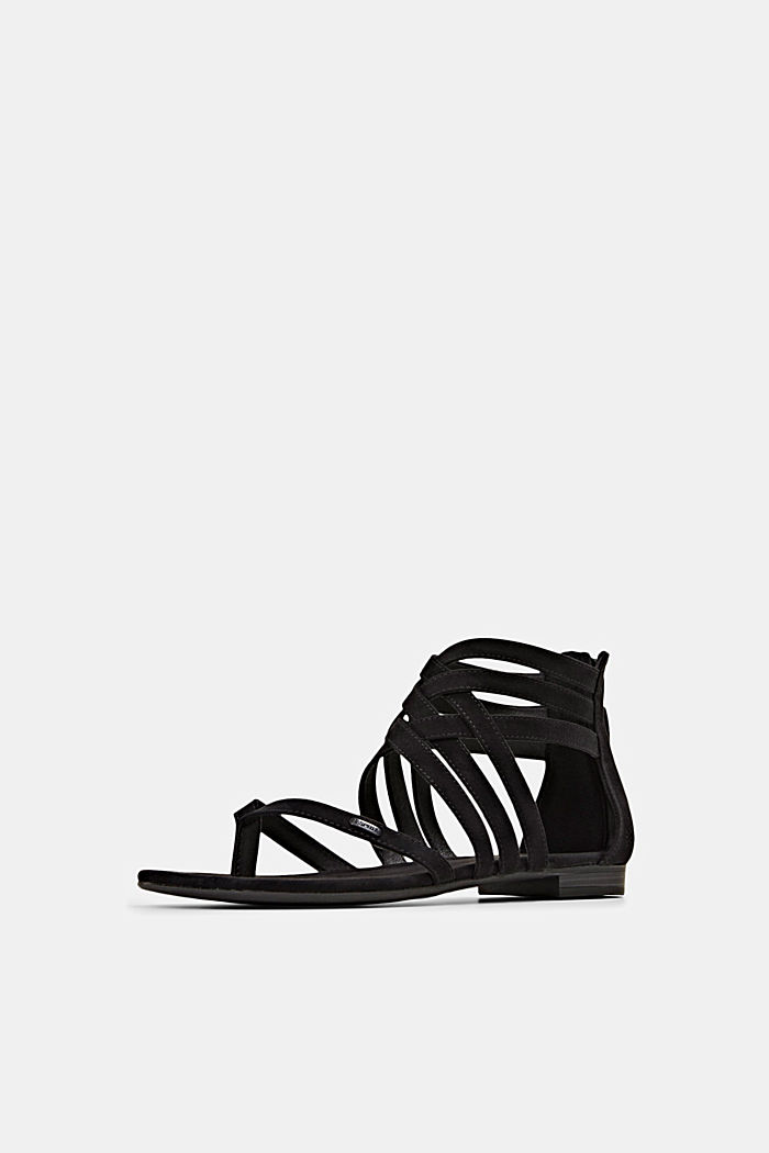 Strappy sandals made of faux suede, BLACK, detail image number 2